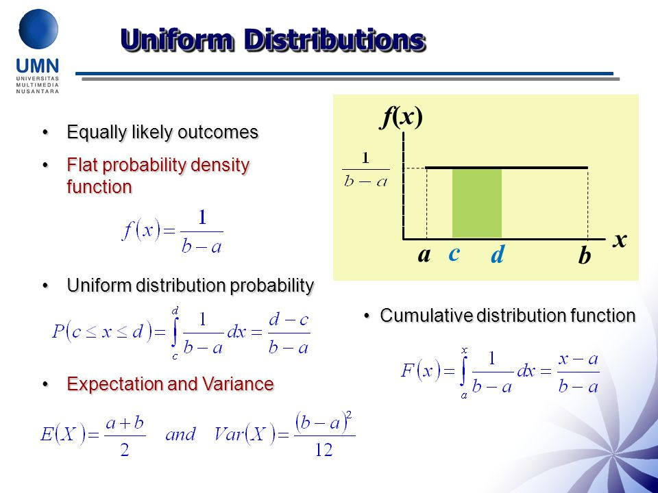 Uniform Distributions Equally likely outcomesEqually likely outcomes Flat probability density functionFlat probability density function Uniform distribution probabilityUniform distribution probability Expectation and VarianceExpectation and Variance x f(x)f(x) d c a b Cumulative distribution functionCumulative distribution function
