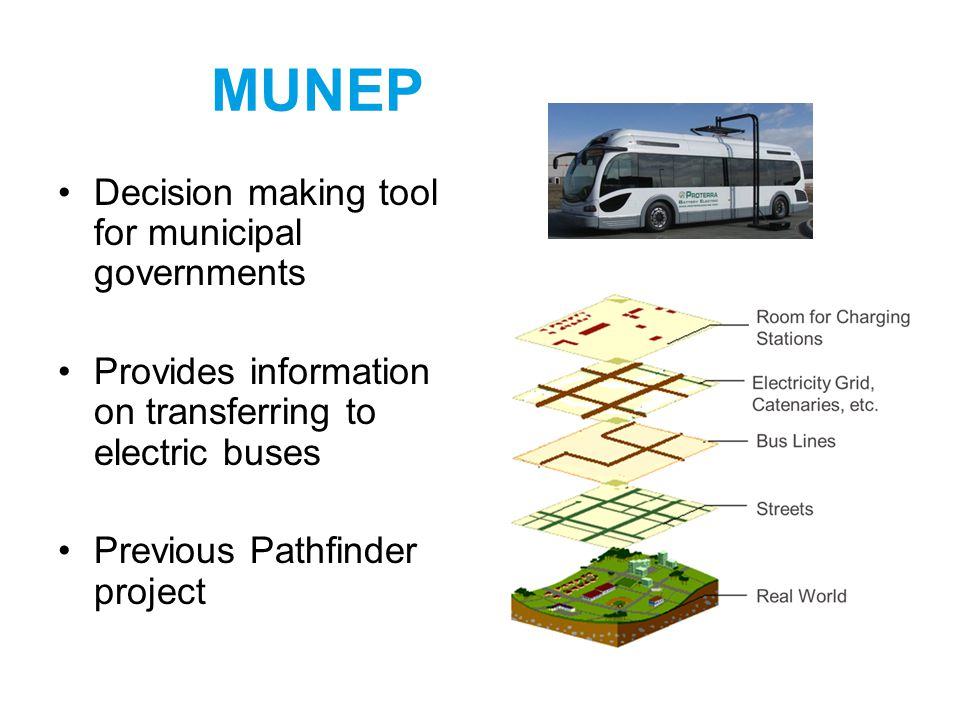 MUNEP Decision making tool for municipal governments Provides information on transferring to electric buses Previous Pathfinder project