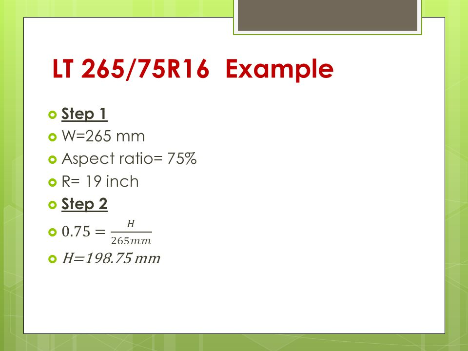 LT 265/75R16 Example