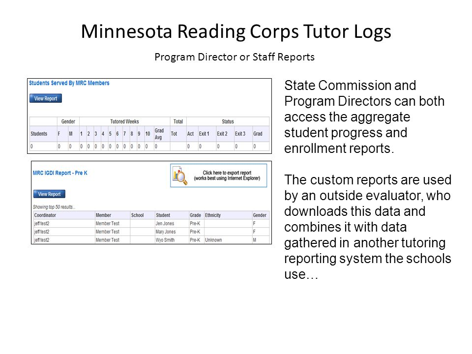 Minnesota Reading Corps Tutor Logs Program Director or Staff Reports State Commission and Program Directors can both access the aggregate student progress and enrollment reports.