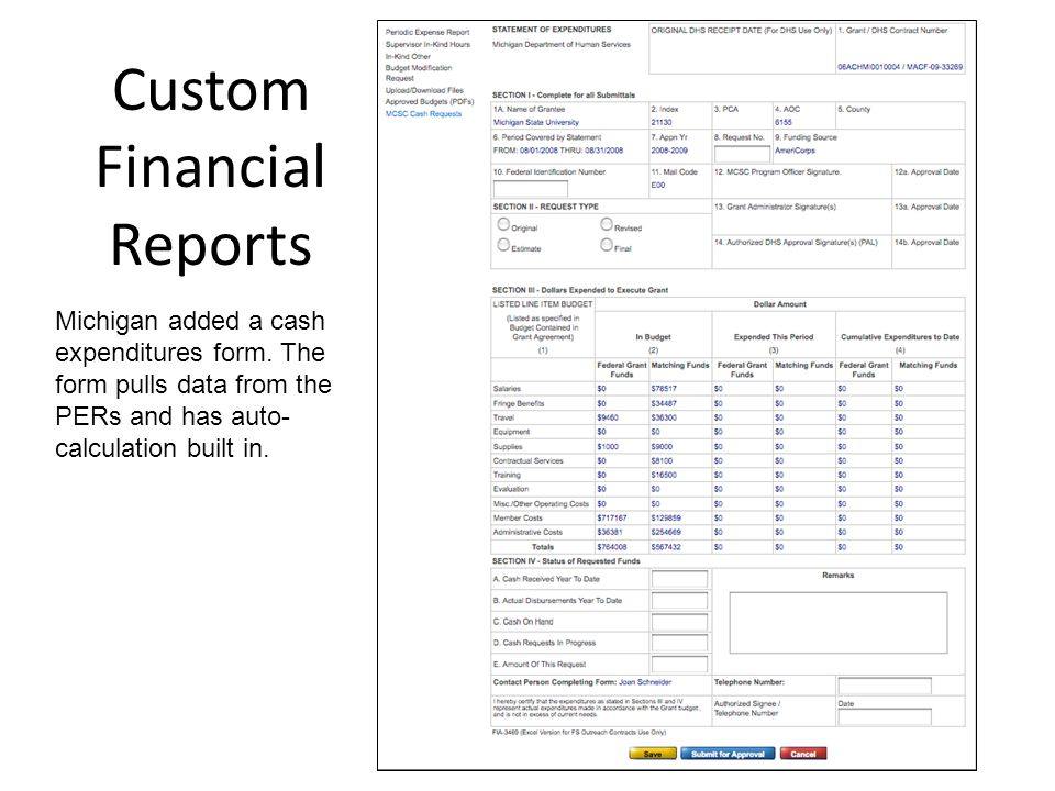 Custom Financial Reports Michigan added a cash expenditures form.