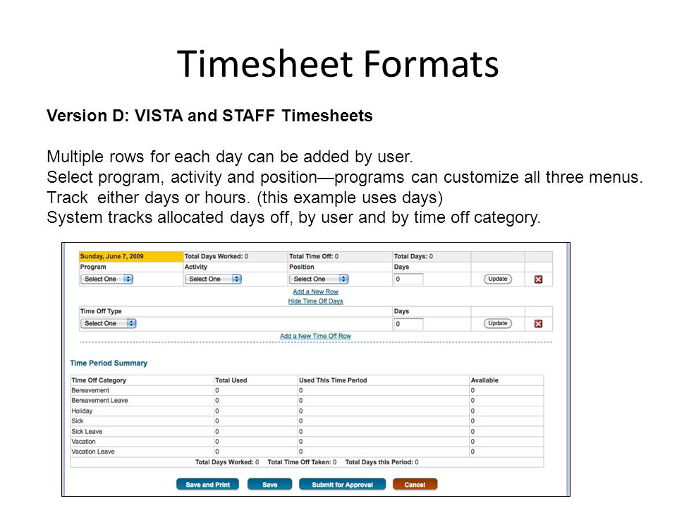 Timesheet Formats Version D: VISTA and STAFF Timesheets Multiple rows for each day can be added by user.