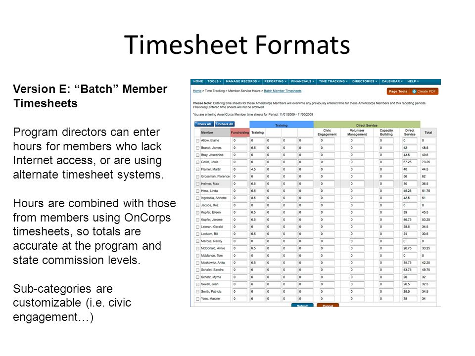Timesheet Formats Version E: Batch Member Timesheets Program directors can enter hours for members who lack Internet access, or are using alternate timesheet systems.