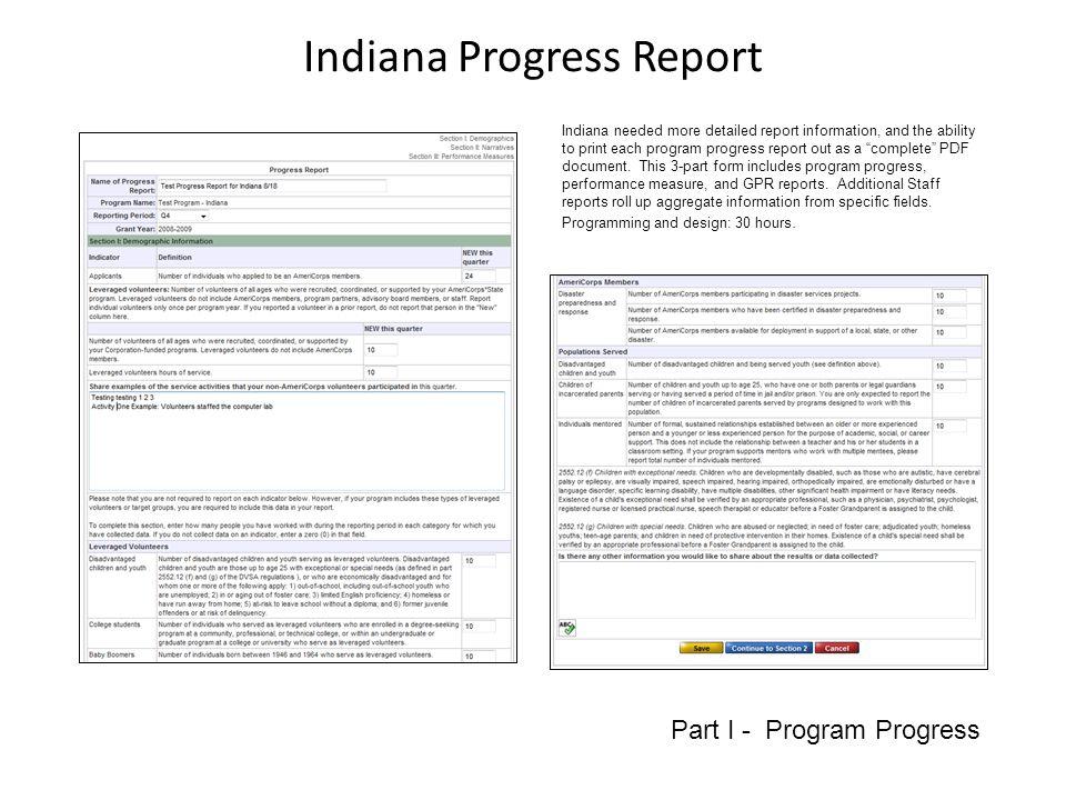 Indiana Progress Report Part II- GPR Information