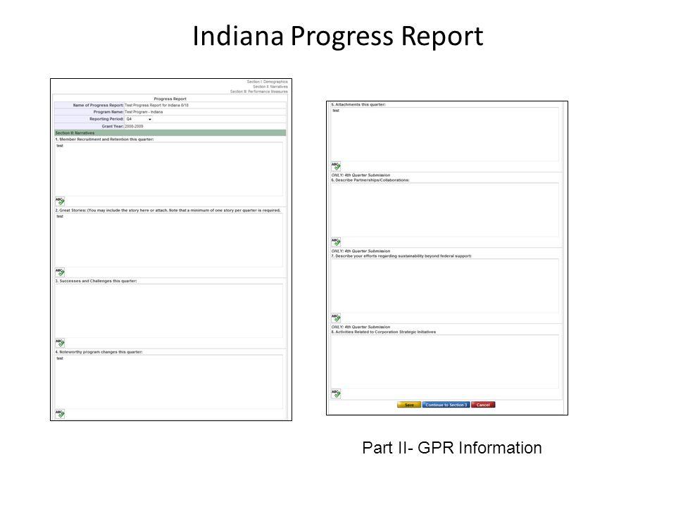 Indiana Progress Report Part III- Performance Measures
