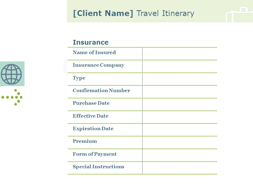 [Client Name] Travel Itinerary Insurance Name of Insured Insurance Company Type Confirmation Number Purchase Date Effective Date Expiration Date Premi