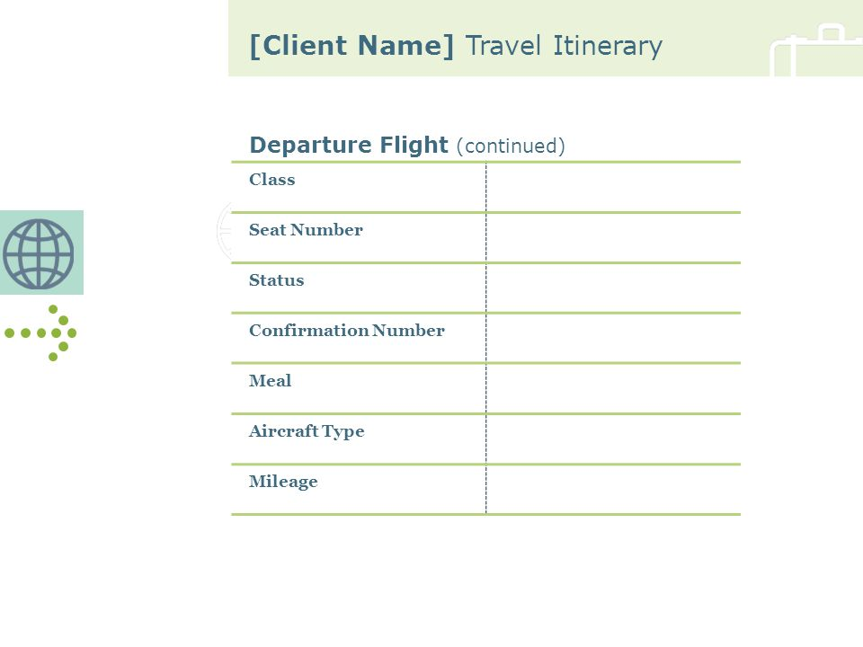 [Client Name] Travel Itinerary Car Rental (continued) Mileage Corporate Discount Percent or Amount Rate per Day with Discount Contact Telephone Number Contact Fax Number