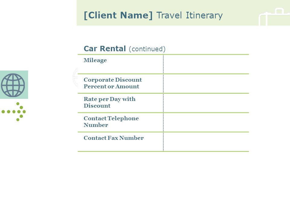 [Client Name] Travel Itinerary Car Rental (continued) Mileage Corporate Discount Percent or Amount Rate per Day with Discount Contact Telephone Number