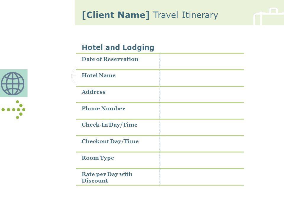 [Client Name] Travel Itinerary Hotel and Lodging Date of Reservation Hotel Name Address Phone Number Check-In Day/Time Checkout Day/Time Room Type Rate per Day with Discount