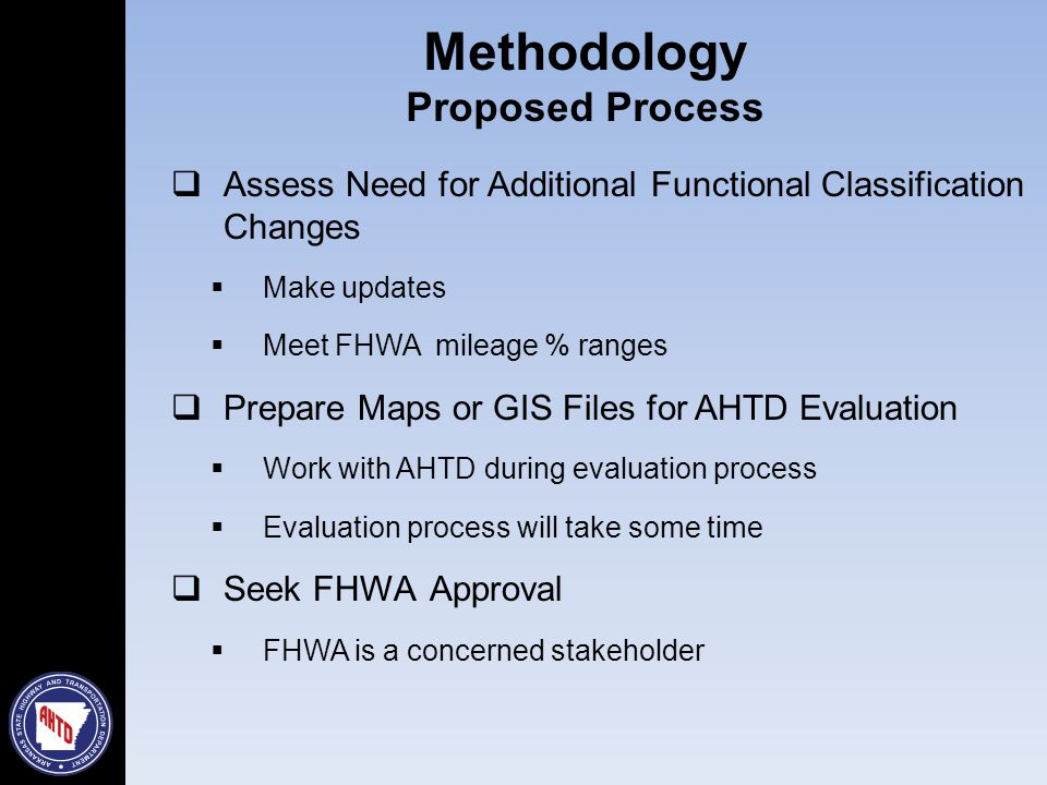 Assess Need for Additional Functional Classification Changes  Make updates  Meet FHWA mileage % ranges  Prepare Maps or GIS Files for AHTD Evaluation  Work with AHTD during evaluation process  Evaluation process will take some time  Seek FHWA Approval  FHWA is a concerned stakeholder Methodology Proposed Process