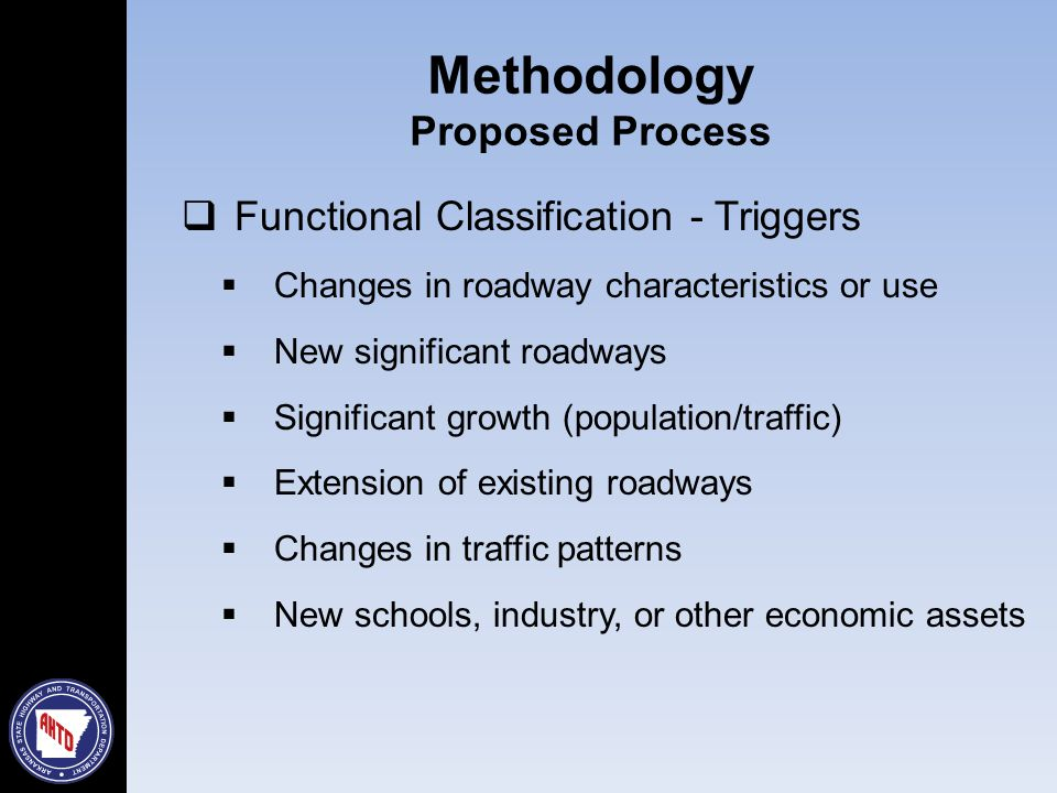  Functional Classification - Triggers  Changes in roadway characteristics or use  New significant roadways  Significant growth (population/traffic)  Extension of existing roadways  Changes in traffic patterns  New schools, industry, or other economic assets Methodology Proposed Process