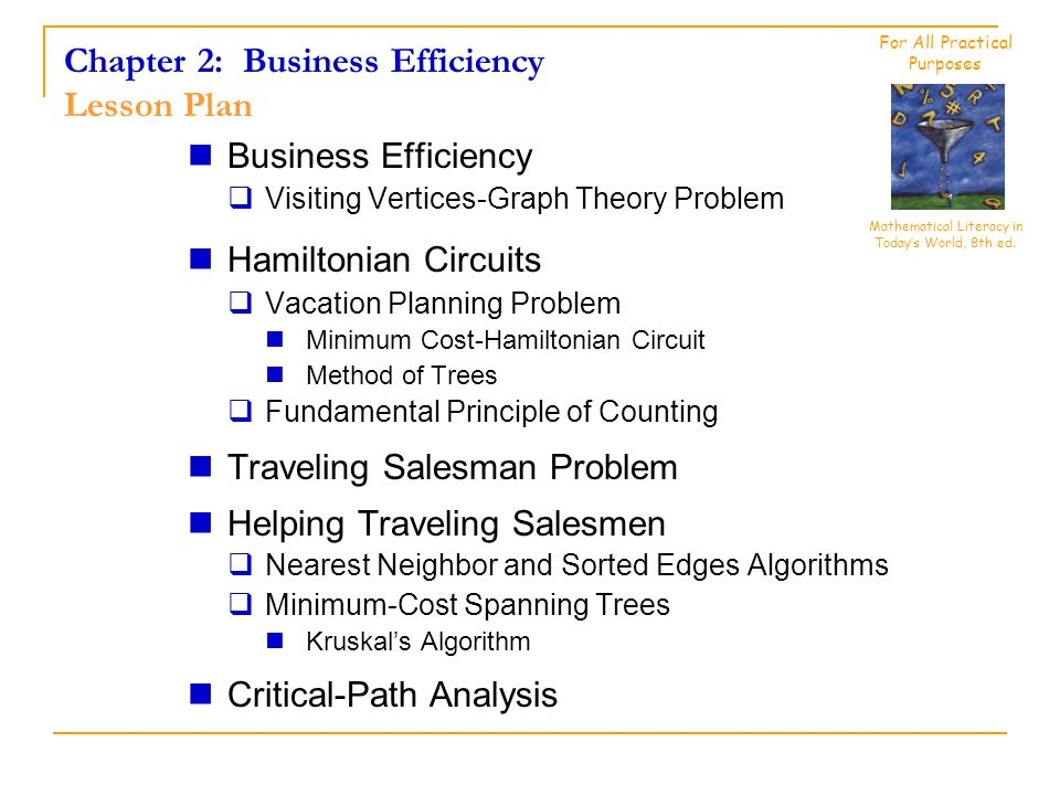 Chapter 2: Business Efficiency Lesson Plan Business Efficiency  Visiting Vertices-Graph Theory Problem Hamiltonian Circuits  Vacation Planning Problem Minimum Cost-Hamiltonian Circuit Method of Trees  Fundamental Principle of Counting Traveling Salesman Problem Helping Traveling Salesmen  Nearest Neighbor and Sorted Edges Algorithms  Minimum-Cost Spanning Trees Kruskal's Algorithm Critical-Path Analysis Mathematical Literacy in Today's World, 8th ed.