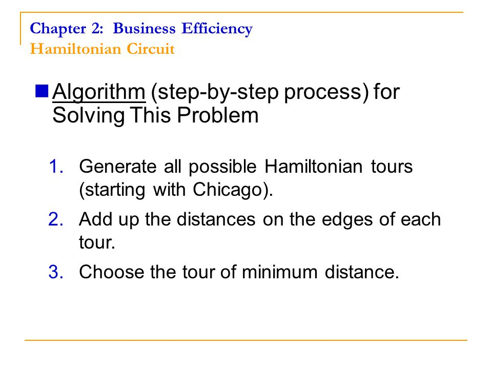 Algorithm (step-by-step process) for Solving This Problem 1.Generate all possible Hamiltonian tours (starting with Chicago).