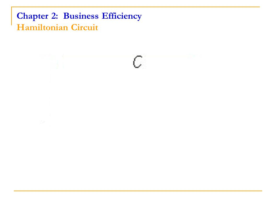 Chapter 2: Business Efficiency Hamiltonian Circuit