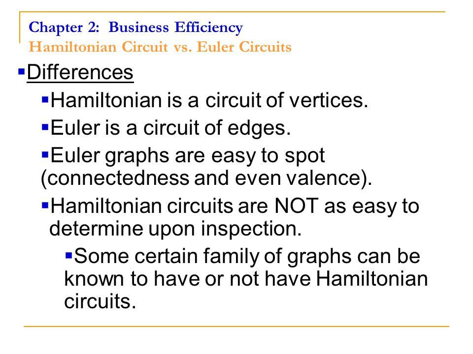 Chapter 2: Business Efficiency Hamiltonian Circuits Example 1 Vacation Planning Problem