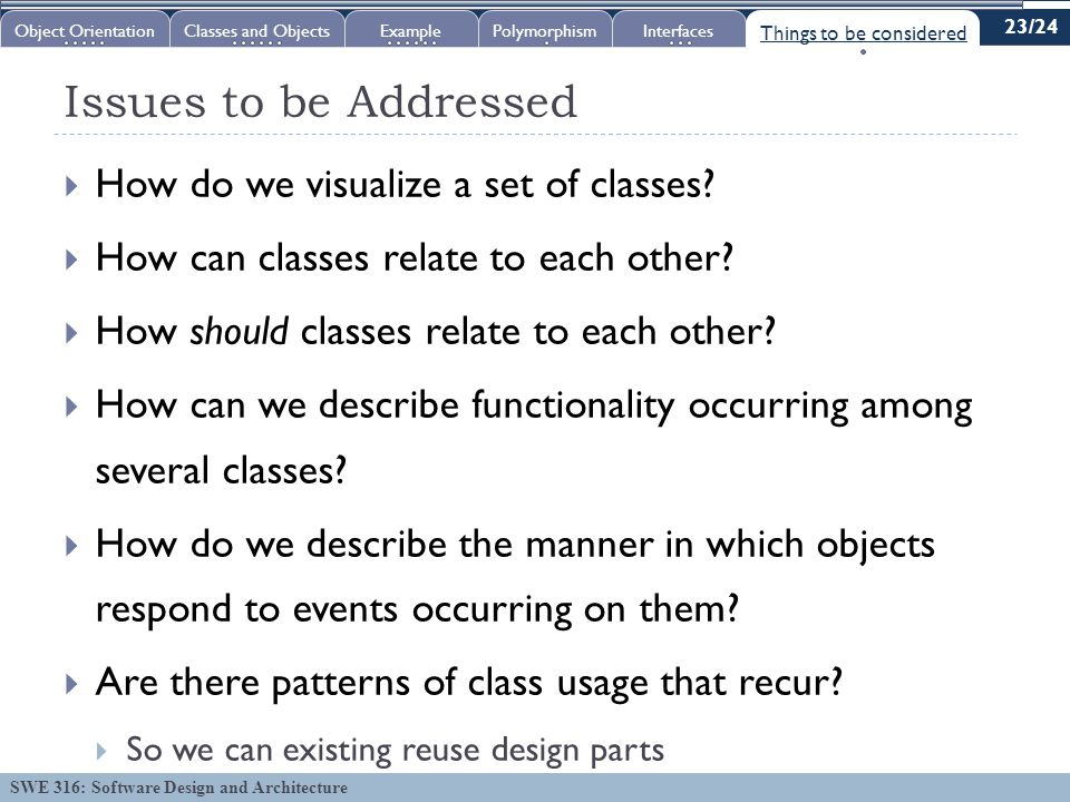 SWE 316: Software Design and Architecture Issues to be Addressed  How do we visualize a set of classes.