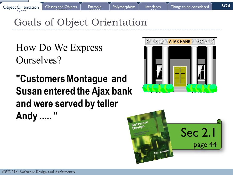 SWE 316: Software Design and Architecture Goals of Object Orientation How Do We Express Ourselves.