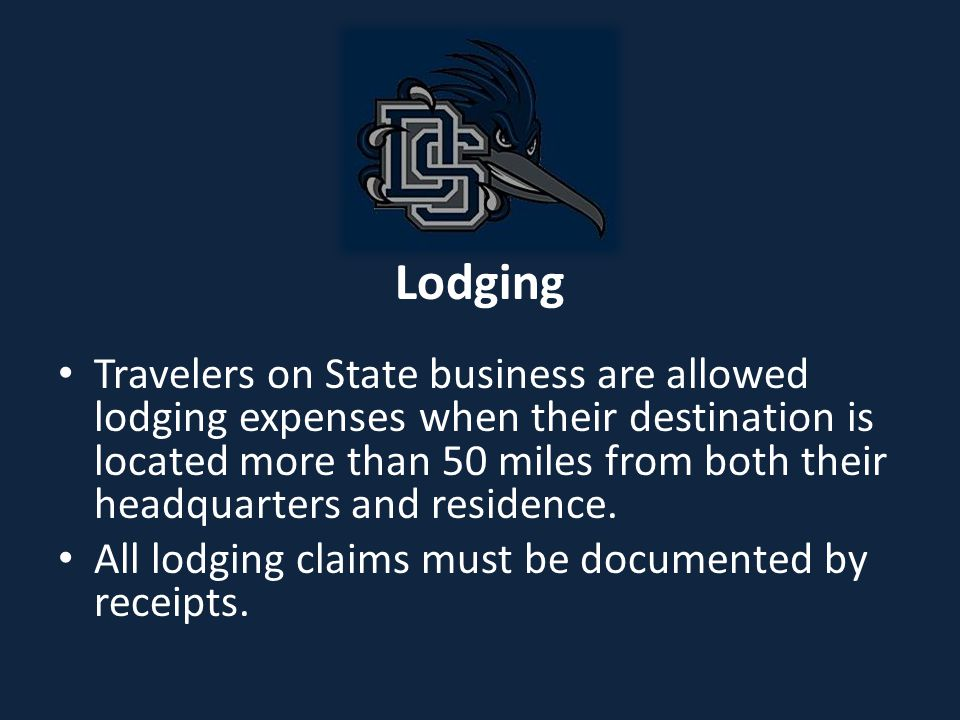 Lodging Employees traveling within the state on official business are exempt from paying county or municipal excise tax (hotel/motel or occupancy tax) on lodging.