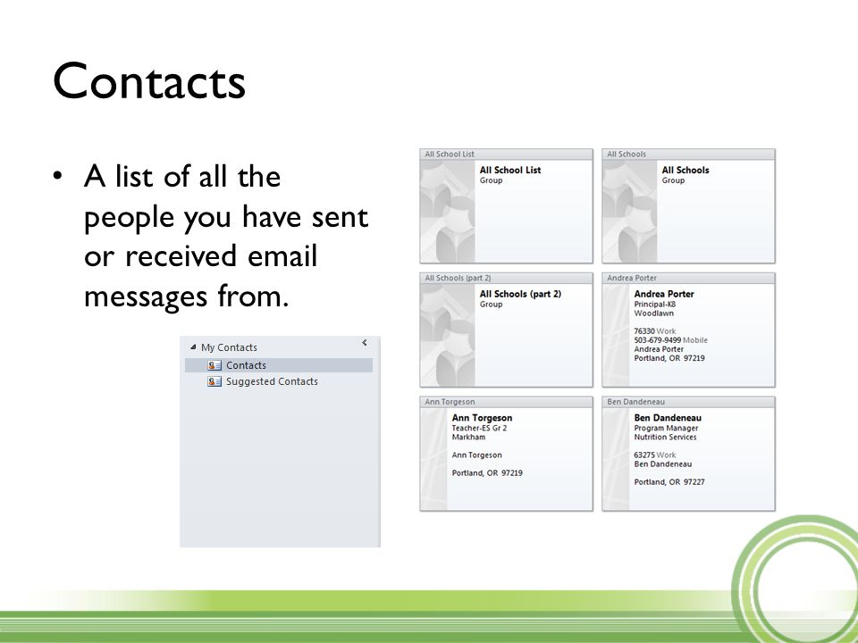 Contacts A list of all the people you have sent or received email messages from.