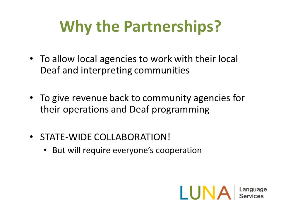 Why the Partnerships.