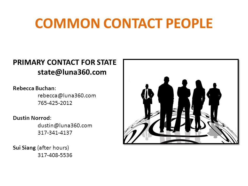 COMMON CONTACT PEOPLE PRIMARY CONTACT FOR STATE state@luna360.com Rebecca Buchan: rebecca@luna360.com 765-425-2012 Dustin Norrod: dustin@luna360.com 317-341-4137 Sui Siang (after hours) 317-408-5536