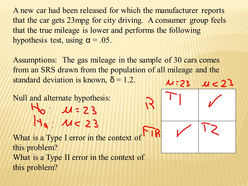 The Probability of Type I error is, .