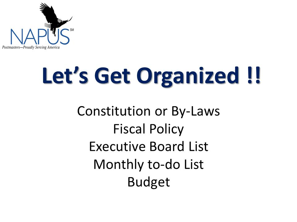 Let's Get Organized !. Let's Get Organized !.