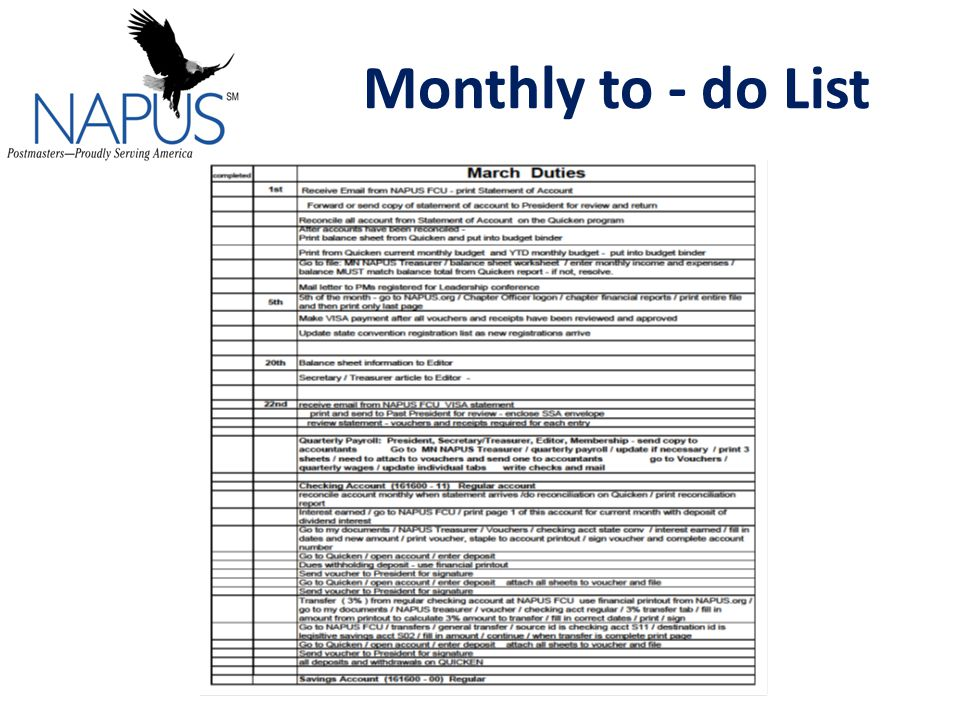 Monthly to - do List