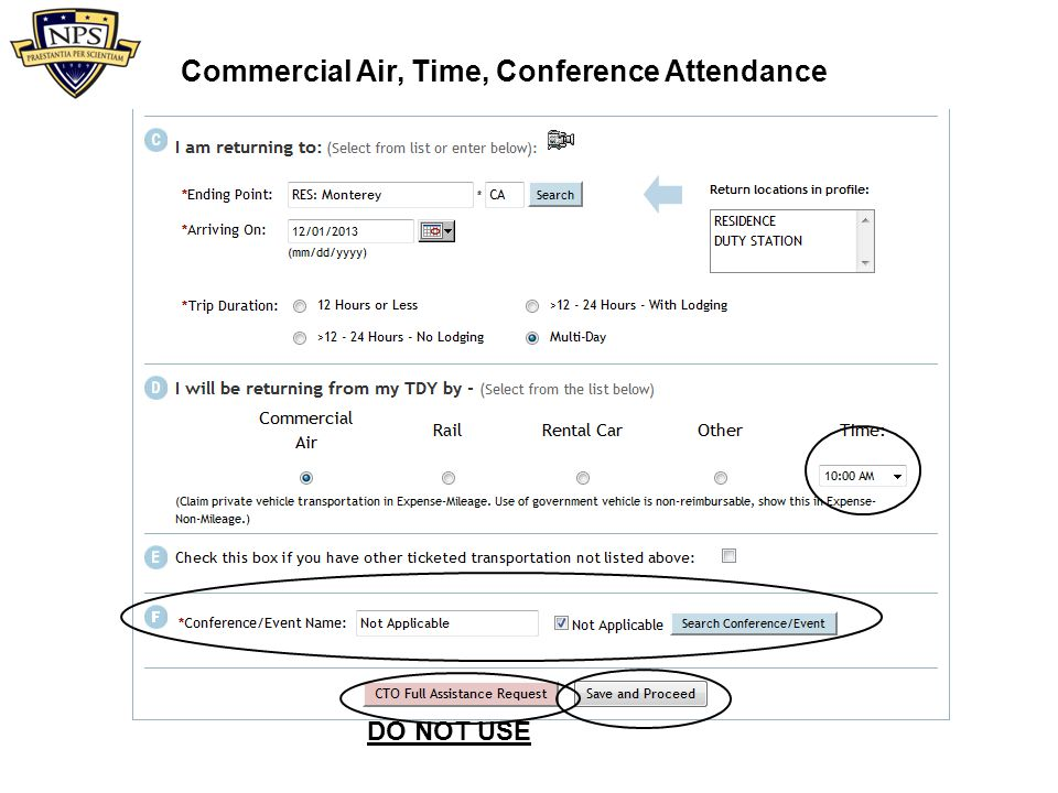 Commercial Air, Time, Conference Attendance DO NOT USE