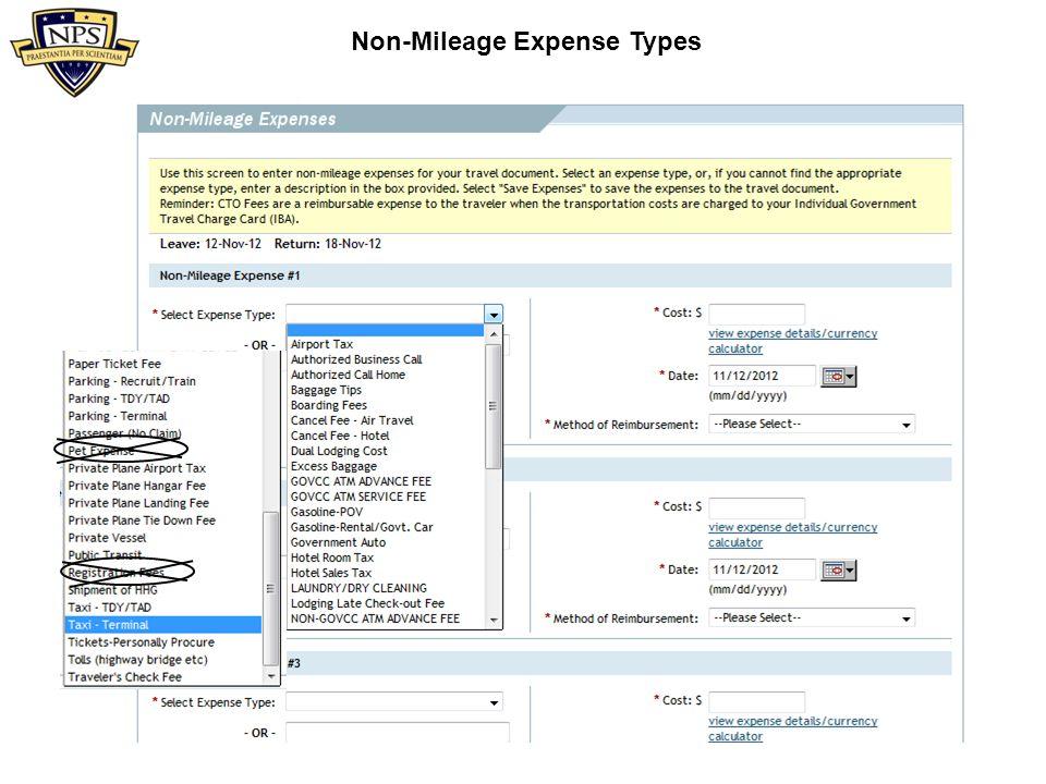 Non-Mileage Expenses Limited to round-trip taxi fare.