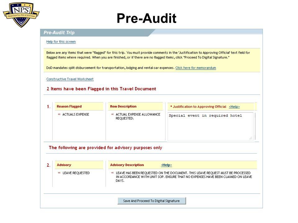 Pre-Audit (not using _CA/YCA)