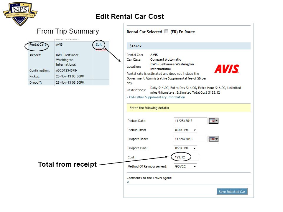 From Trip Summary Total from receipt Edit Rental Car Cost