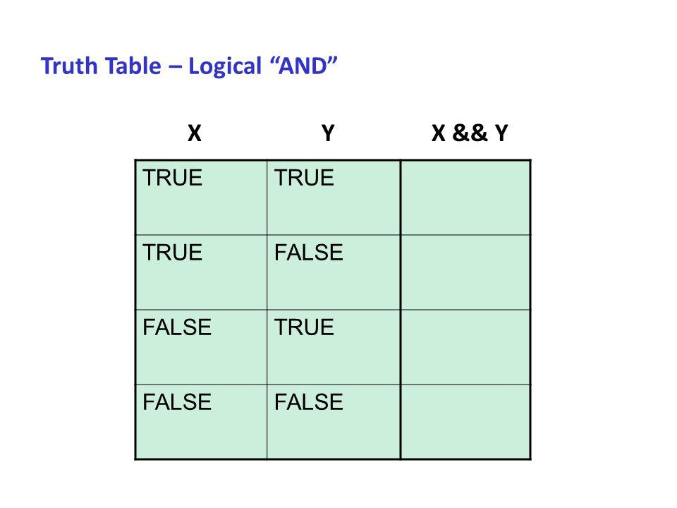 "Truth Table – Logical ""AND"" TRUE FALSE TRUE FALSE X Y X && Y"