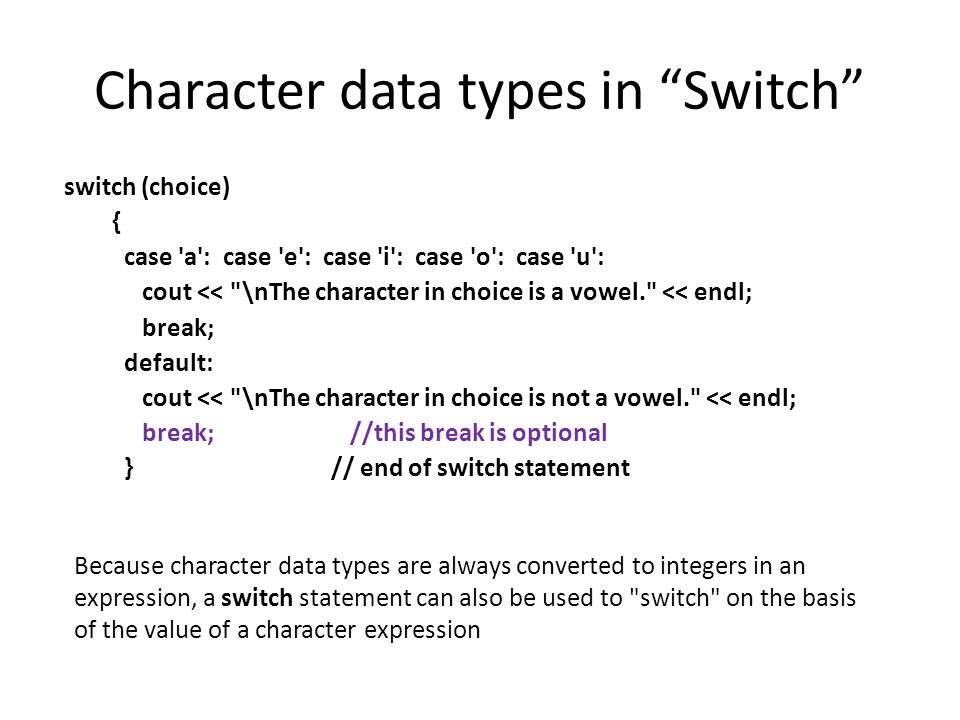 """Character data types in """"Switch"""" switch (choice) { case 'a': case 'e': case 'i': case 'o': case 'u': cout <<"""