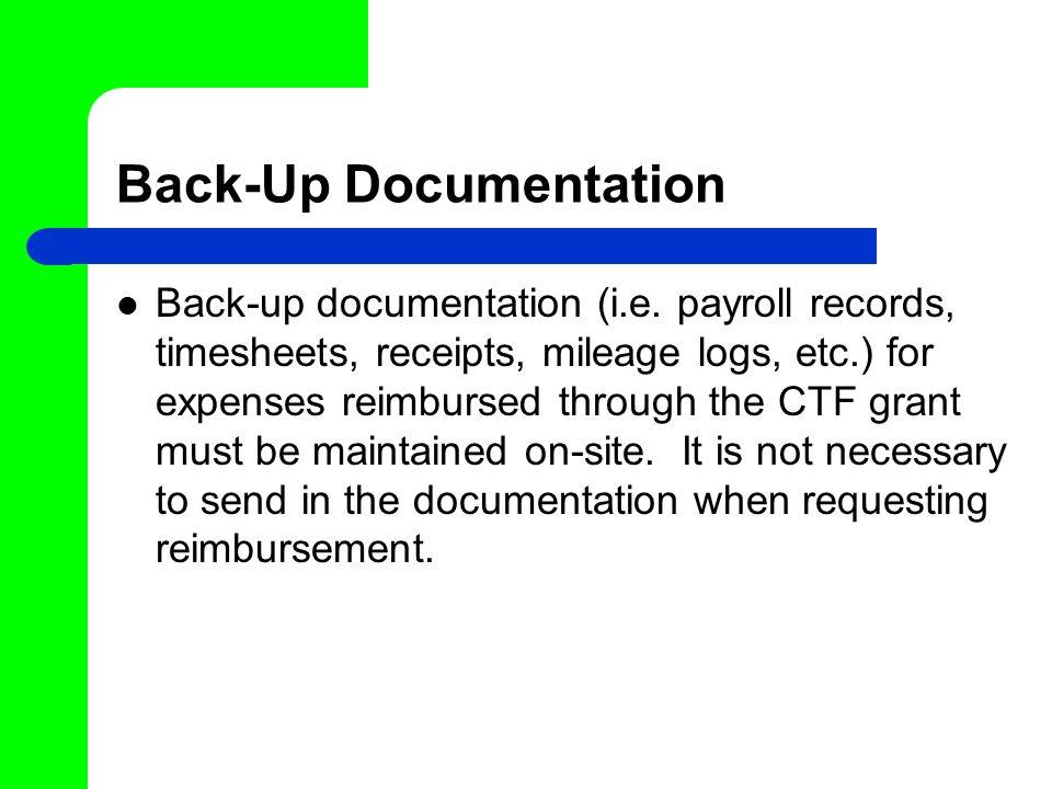 Back-Up Documentation Back-up documentation (i.e.
