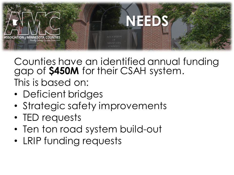 NEEDS Counties have an identified annual funding gap of $450M for their CSAH system.