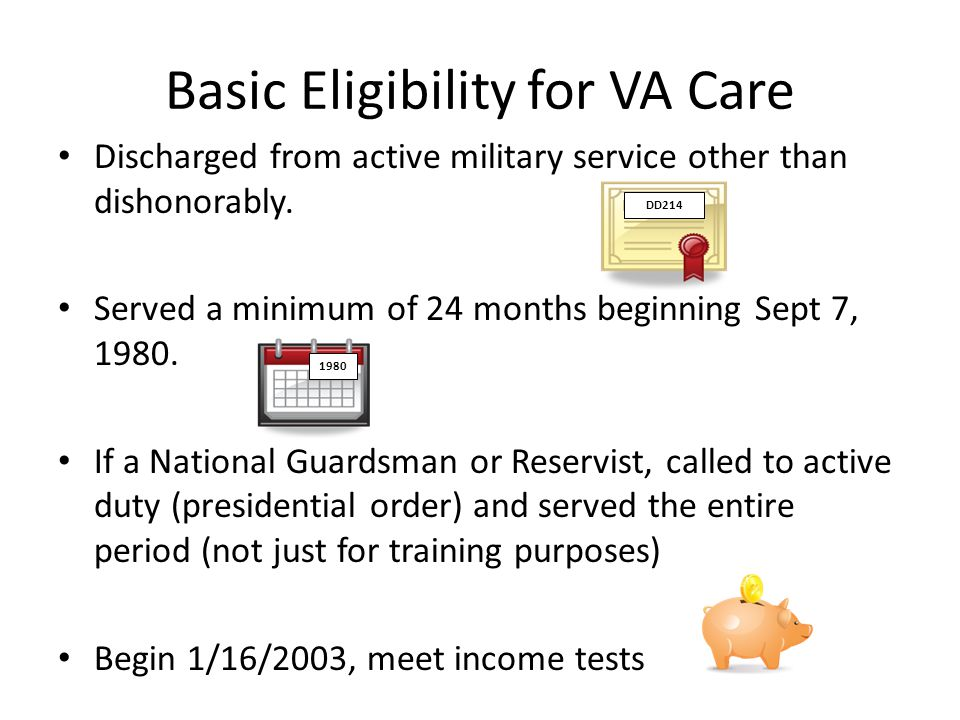 Basic Eligibility for VA Care Discharged from active military service other than dishonorably.