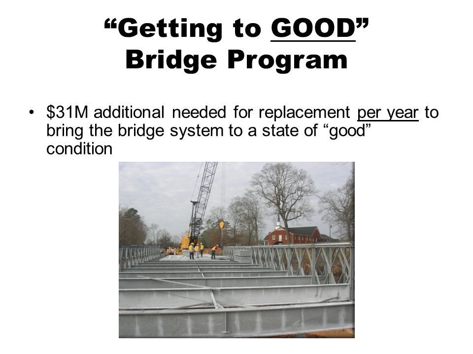 Getting to GOOD Bridge Program $31M additional needed for replacement per year to bring the bridge system to a state of good condition