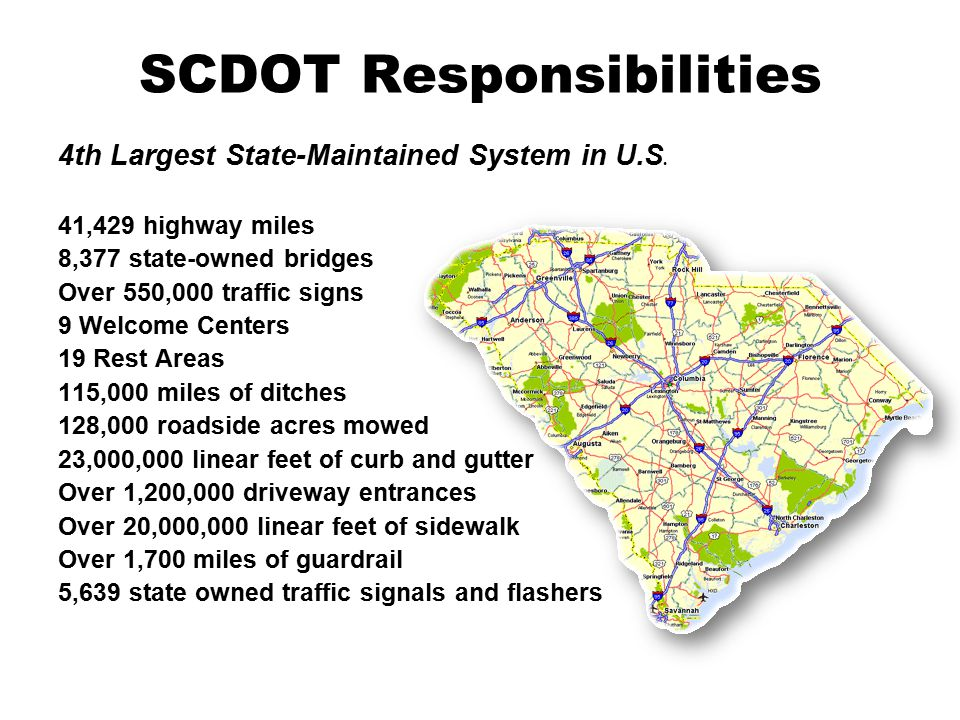 SCDOT Responsibilities 4th Largest State-Maintained System in U.S.