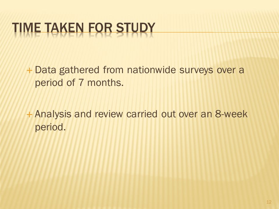  Data gathered from nationwide surveys over a period of 7 months.
