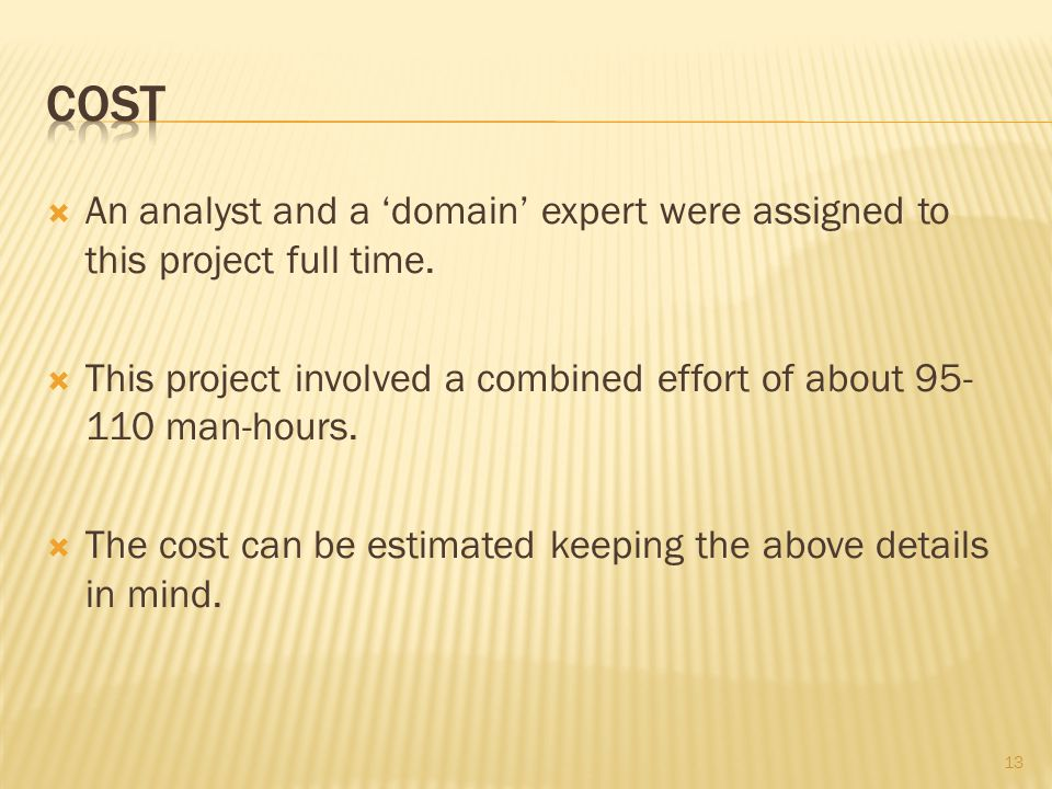  An analyst and a 'domain' expert were assigned to this project full time.