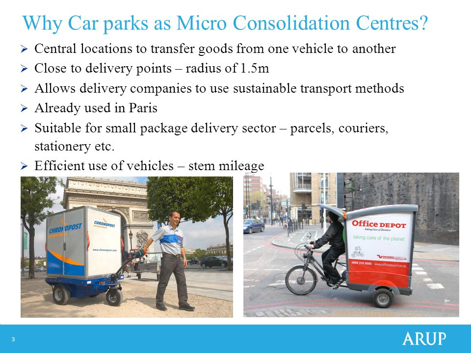 3 Why Car parks as Micro Consolidation Centres.