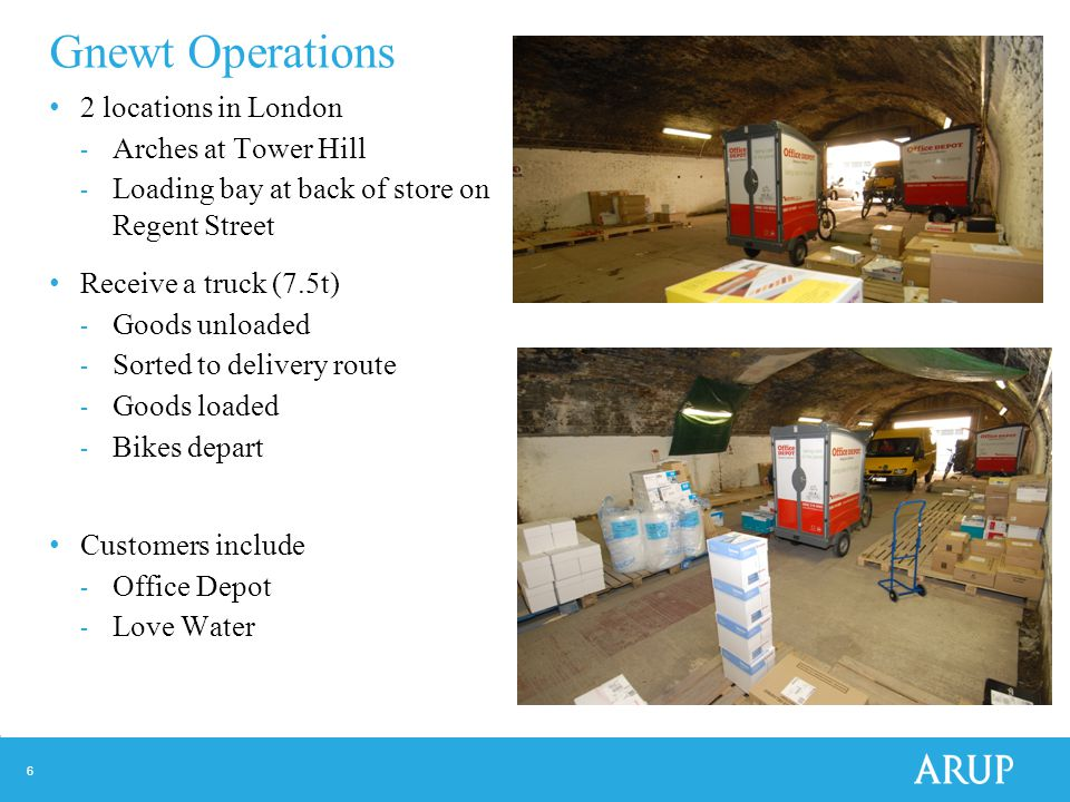 6 Gnewt Operations 2 locations in London - Arches at Tower Hill - Loading bay at back of store on Regent Street Receive a truck (7.5t) - Goods unloaded - Sorted to delivery route - Goods loaded - Bikes depart Customers include - Office Depot - Love Water