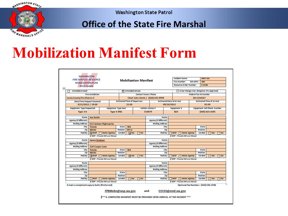 Washington State Patrol Office of the State Fire Marshal Mobilization Manifest Form