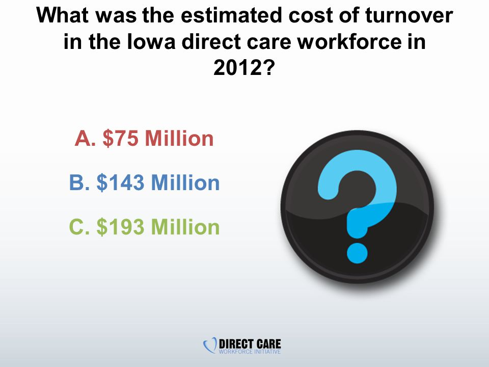 What was the estimated cost of turnover in the Iowa direct care workforce in 2012.