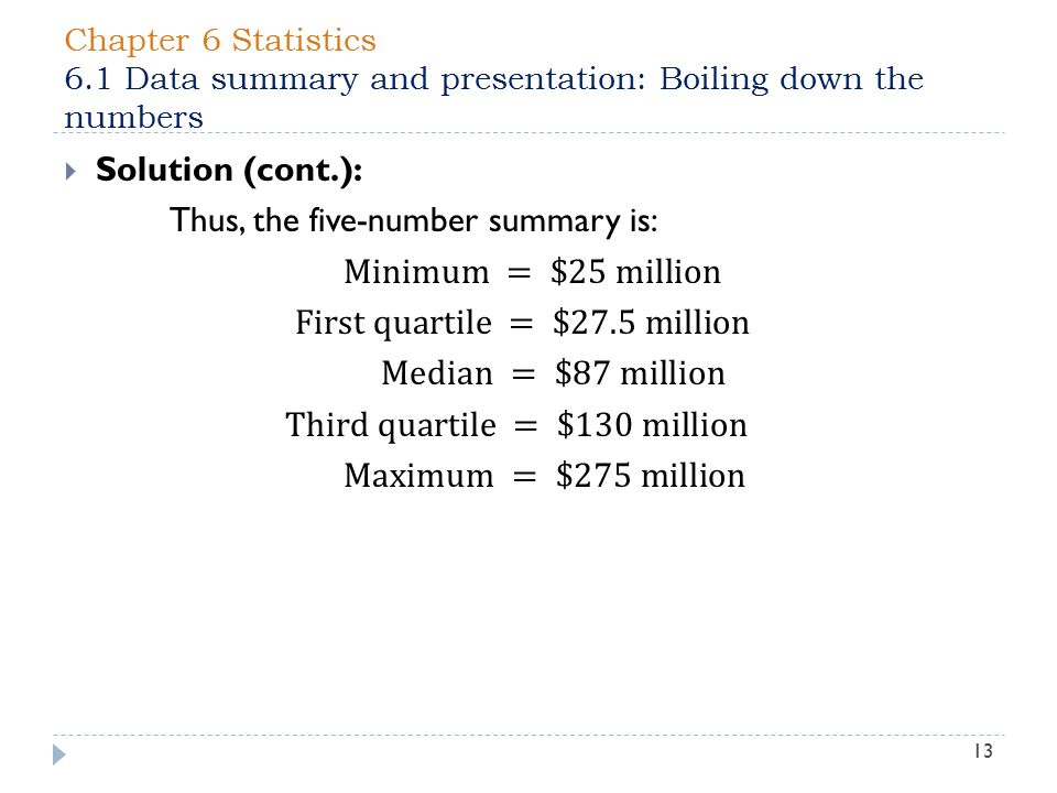 Chapter 6 Statistics 6.1 Data summary and presentation: Boiling down the numbers 13