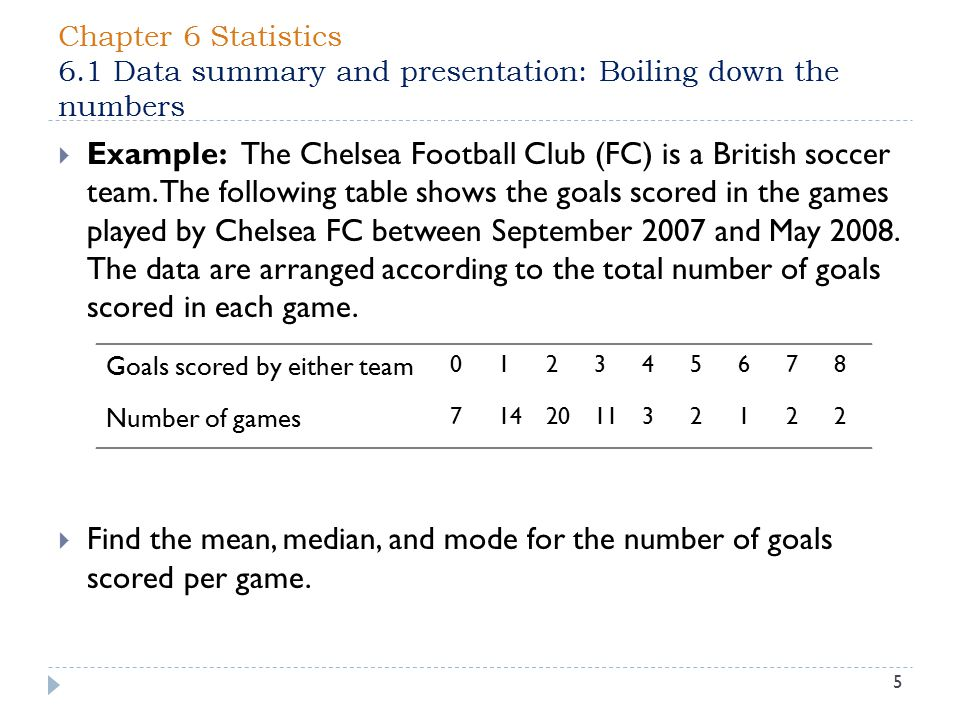 Chapter 6 Statistics 6.1 Data summary and presentation: Boiling down the numbers 5  Example: The Chelsea Football Club (FC) is a British soccer team.