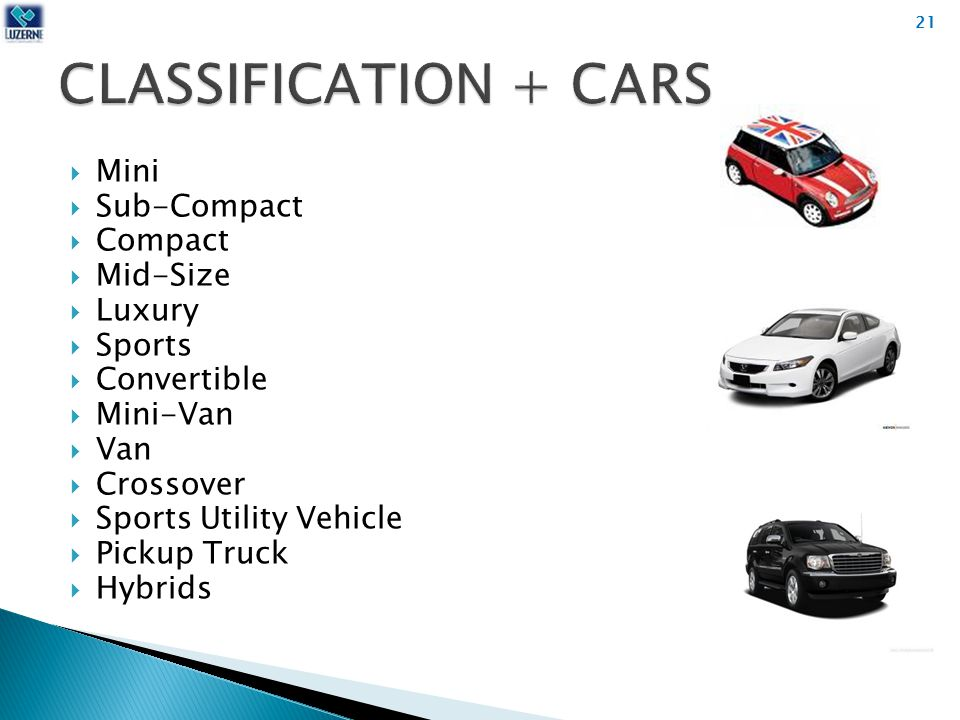  Mini  Sub-Compact  Compact  Mid-Size  Luxury  Sports  Convertible  Mini-Van  Van  Crossover  Sports Utility Vehicle  Pickup Truck  Hybrids 21