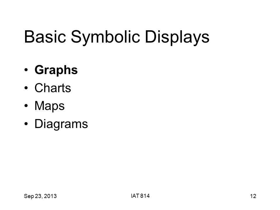 Sep 23, 2013 IAT 814 12 Basic Symbolic Displays Graphs Charts Maps Diagrams