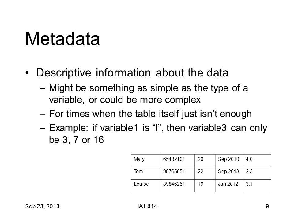 Sep 23, 2013 IAT 814 40 Parallel Coordinates Case 1 10 9 8 7 6 5 4 3 2 1 V1 V2 V3 V4 V5 9 6 7 3 5